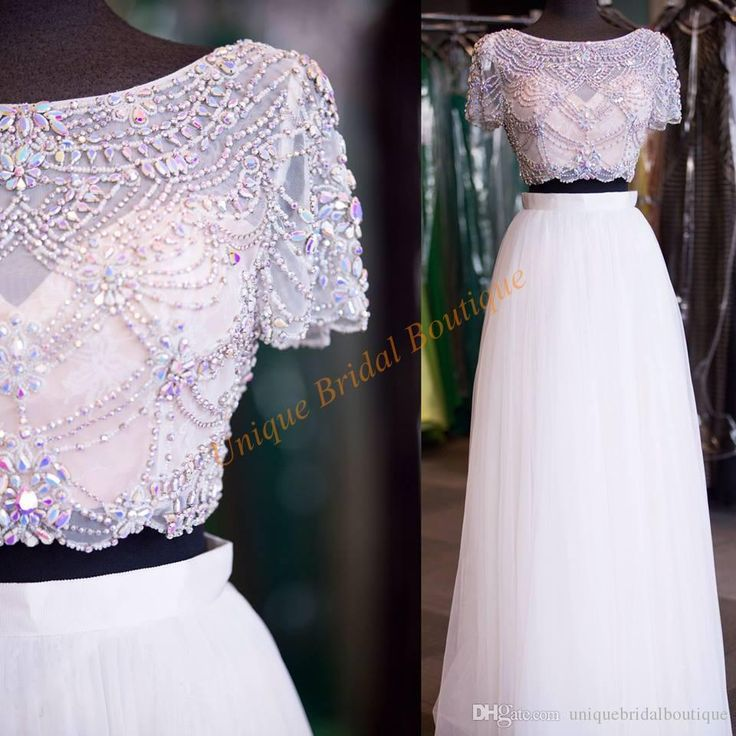 Prom Dresses 2017 Designers With Short Sleeves And Bling Bling Crystals Top White Tulle Skirt Crop Top Prom Gowns Custom Made Prom Dresses For Children Prom Dresses Juniors From Uniquebridalboutique, $134.13  Dhgate.Com