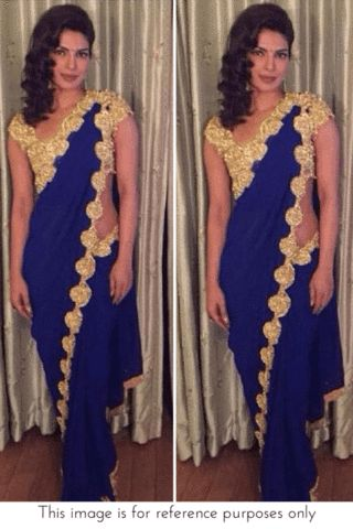 Bollywood Inspired - Priyanka Chopra Colbalt Blue & Gold Saree