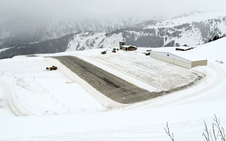 Courchevel Airport France - one of the very few airports that feature a sloped runway. [3540x2211]