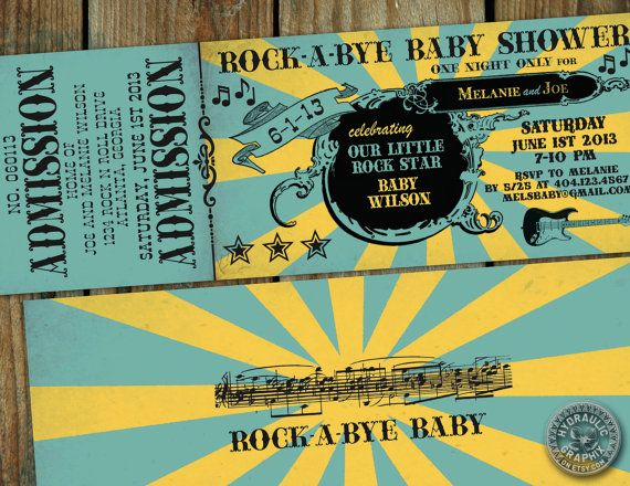 Rock n Roll Baby shower Ticket Invitation - Rock-a-Bye Baby themed party, baby shower with guitar and music notes