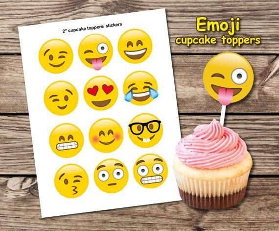 Emoji cupcake toppers Emoji party decoration Emoji sticker ...