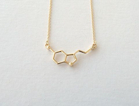 Serotonin Molecule Necklace - Gold & Silver - Science DNA Pendant Necklace for Happiness and Well-being - Rosa Vila Jewelry  - 1