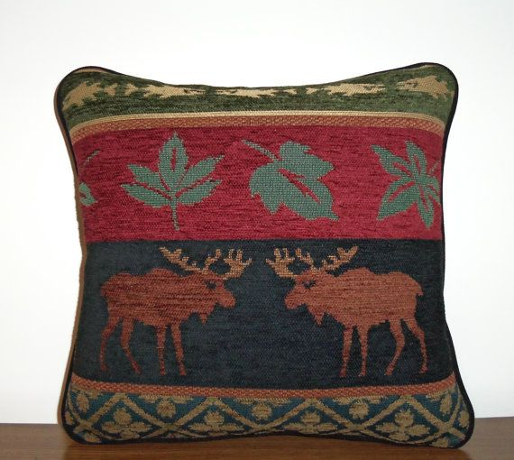 Canada Wilds Moose Chenille Tapestry Pillow Large by timberlineltd
