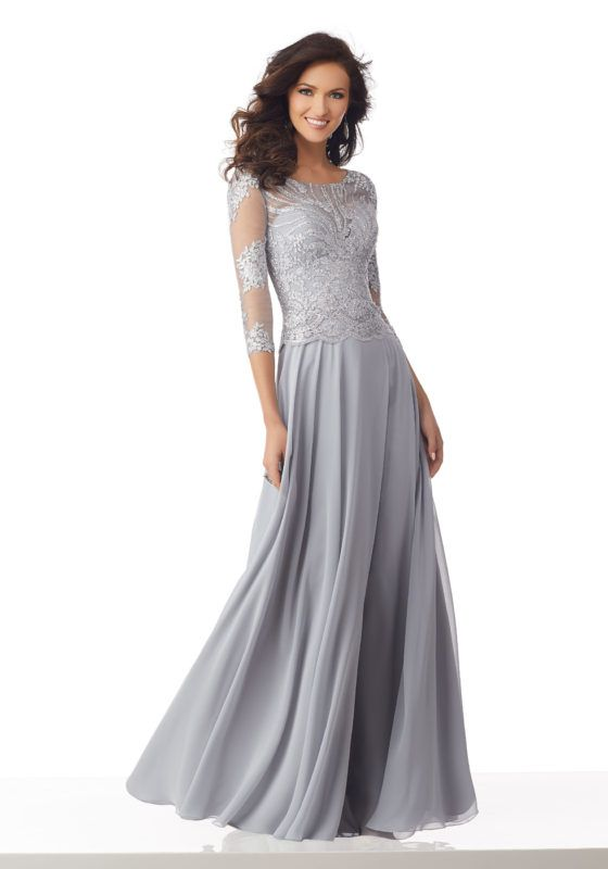 ef7cb35e640 Chiffon Special Occasion Gown with Beaded and Embroidered Net Sleeves