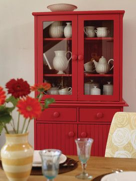 10 Ideas for Decorating with Painted Furniture ~ red painted hutch with white dishes. Gorgeous! #CottageStyle