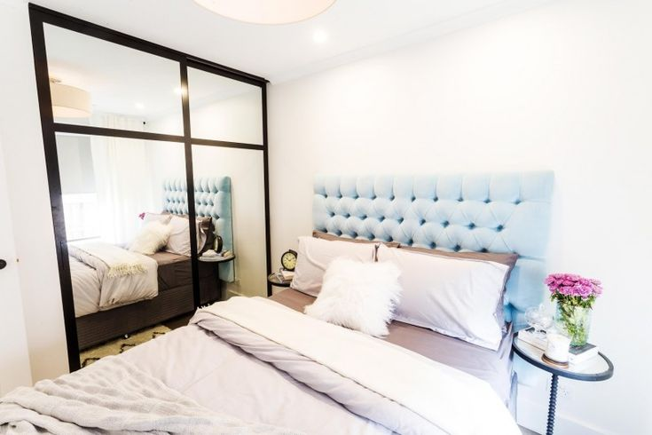 Contemporary classic bedroom l Blue upholstered bed head l Luxe bedroom l Baby blue bed head l Reno Rumble Week 1 Bedrooms