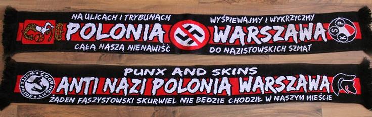 Black Rebels Polonia Warschau Schal 「ANTI NAZI POLOPNIA WARZSAWA」ポロニア・ワルシャワの反人種差別サポーター団体Black Rebelsのマフラーは11.90ユーロ(1500円ぐらい)。