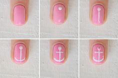 Nail art: tema náutico para o outubro rosa