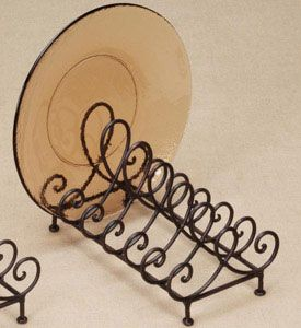 Store up to six dinner plates right on your counter or table top with this Wrought Iron Plate Holder. This plate holder stand is constructed from sturdy wrought iron to provide a classic rustic accent for your kitchen that will endure for years and years to come. Featuring an elegant Baldwin arch design these metal pla