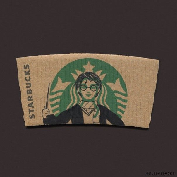 Harry Potter on Starbucks sleeve starbucks-cup-art-sleeve-illustration-sleevebucks-8