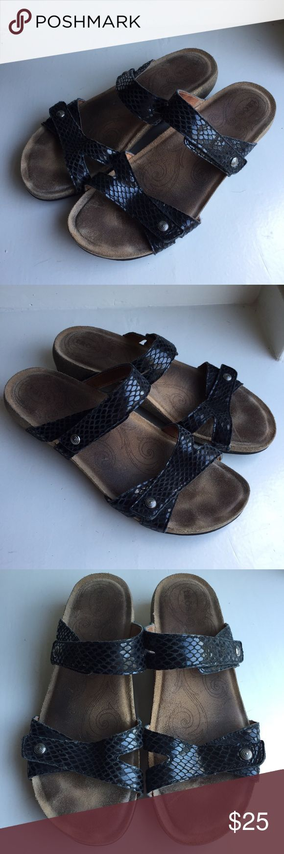 Taos sandals Sz 41 10 10.5 Black Slides faux snake Reference photos for general wear. Taos Footwear Shoes Sandals