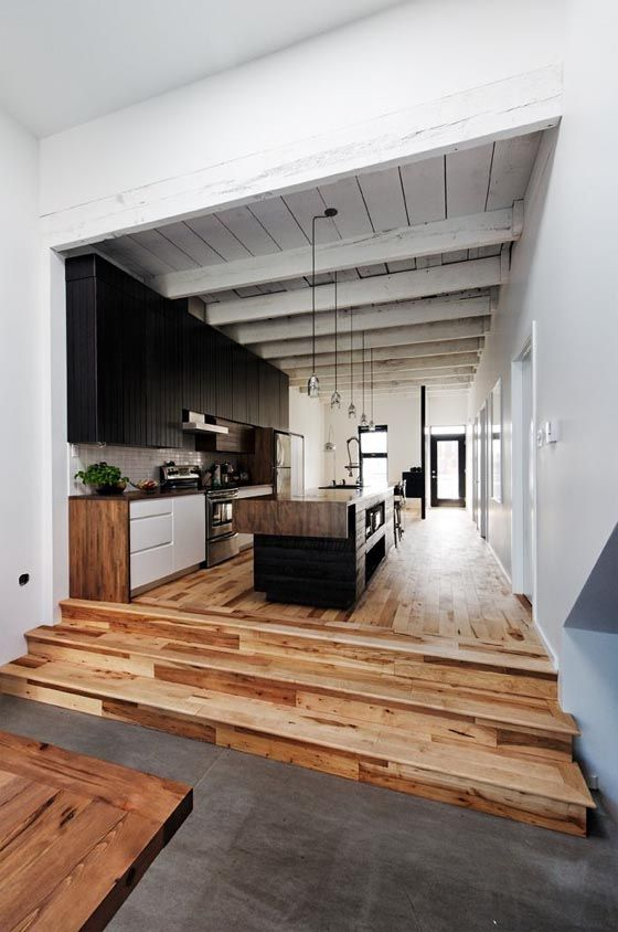 Love the floor!: Spaces, Kitchens Design, Stairs, Interiors Design, Woods Floors, Open Kitchens, Modern Kitchens, Dream Kitchens, Step Up