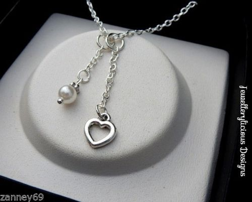 Beautiful-Silver-Love-Heart-White-Pearl-Bead-Necklace-U-Choose-Length-Valentine