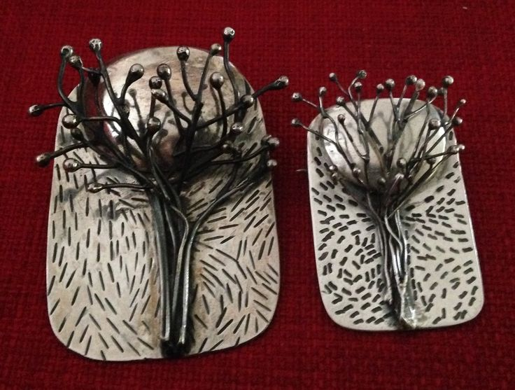 Who's the daddy, silver tree and moon brooches made from silver sheet and silver wire.