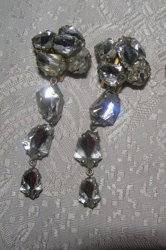 SALE! Diamond table cut vintage crystal earrings whith clips/vintage earrings  #DropDangle