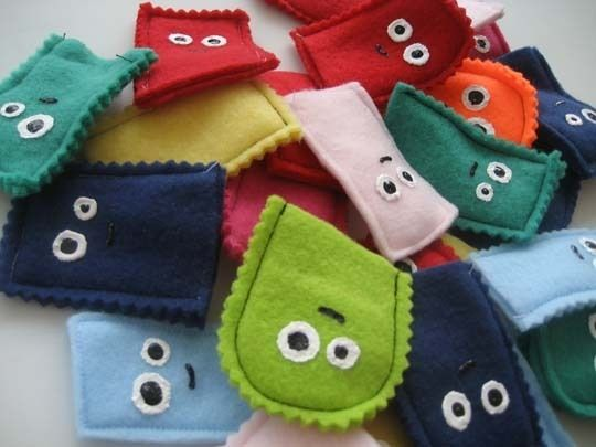 Cute Little Finger Puppet Monsters. These would work for simple puppets to use with readers theaters.