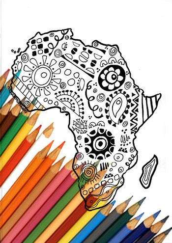 Africa continent coloring page zentangle digital download