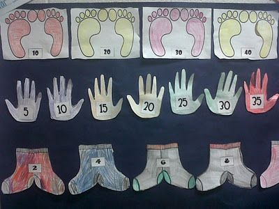 Great idea to help teach counting by 2s, 5s, and 10s! Socks/2s; Hand/5s; Feet/10s