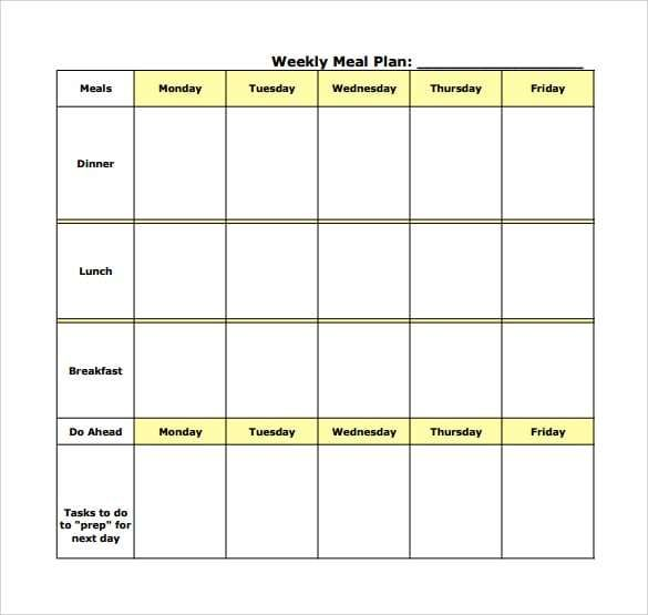 Meal Plan Templates Meal Planning Template Weekly Meal Planner
