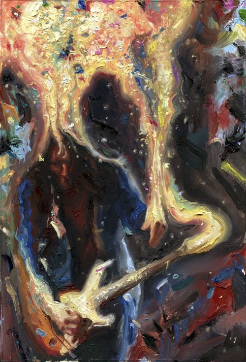 EatSleepDraw • John Frusciante slayin Slane. Oil on Masonite,...