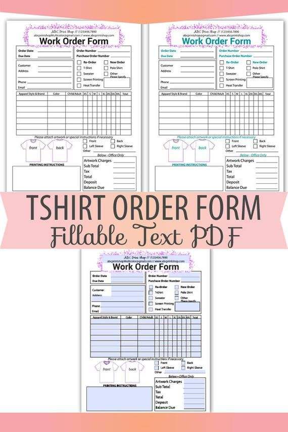 Fillable Editable Text Only Pdf Tshirt Screen Print Work Order Form Letter Size Forms Sales Sheet Orders Receipt Instant Download Bop 015 In 2021 Screen Printing Diy Screen Printing Printing Business