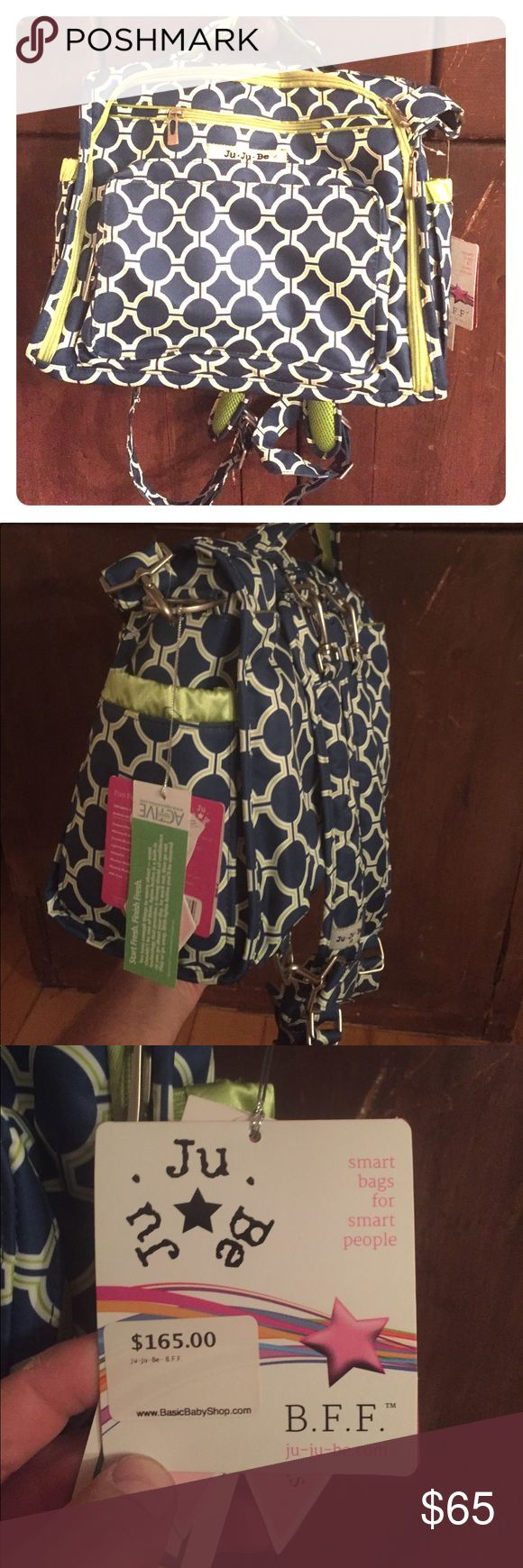 JuJuBe BFF Navy / Green Fun, stylish, durable, flexible. JuJuBe bags are designed for every mom, easy to clean and durable. The BFF can double as a backpack and shoulder carry. jujube Bags Baby Bags