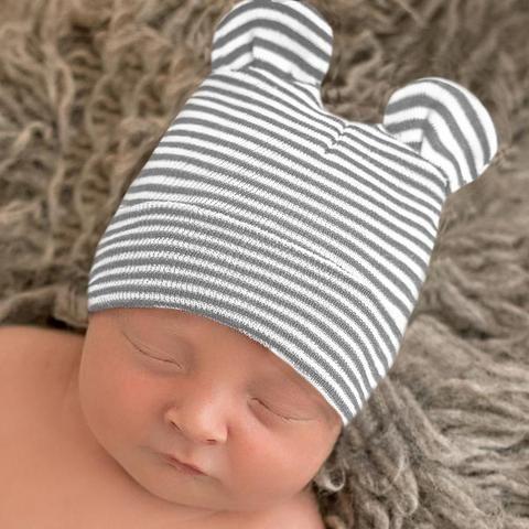 325658f0f32 Grey and White Striped Baby Bear Newborn Boy Hospital Hat
