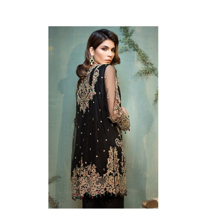 Beautiful Black & Gold Formal Wear Silk & Net Pakistani Ready to Wear Pret Dresses Online By Native Winter Collection 2017