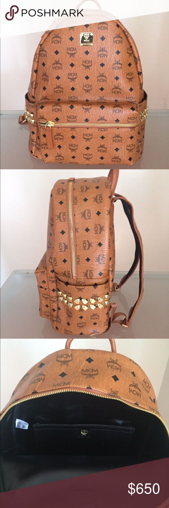 MCM Backpack Brown Cognac medium MCM bag authentic Authenticity Guaranteed. You can buy through posh but if it cost to much. I'm will sell for a WAY cheaper price if you offer somewhere else like 🅿🅿 or VENM0 that doesn't take a high percentage. ALSO ACCEPTING TRADES. TEXT ME ASAP!! (310) 955-4570 MCM Bags Backpacks