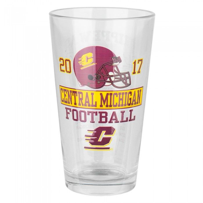 Central Michigan University 16oz Football Schedule Pint Glass At Campus Den
