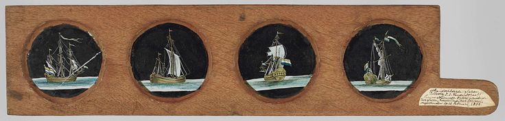 Anonymous | Vier zeilschepen, Anonymous, c. 1700 - c. 1790 | Vier glazen in houten vatting met handvat. Op elk van de glazen is een verschillend scheepstype geschilderd. De schepen voeren de Nederlandse vlag. Glazen hebben een zwarte achtergrond.