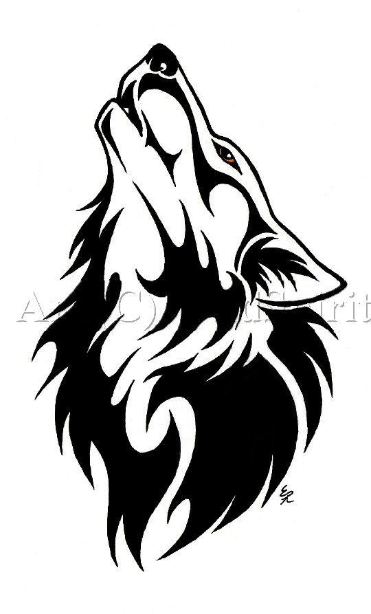Best Black Tribal Wolf Tattoo Design