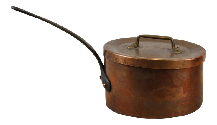 French Vintage Rustic Farmhouse Copper Saucepan Pot & Lid