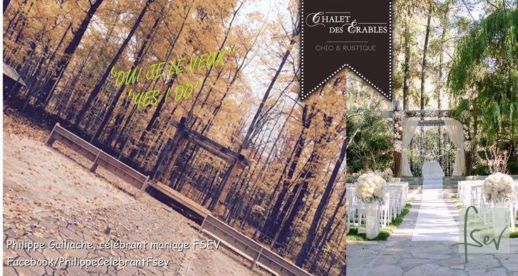 Chalet des Érables-clairière...NOUVEAUTÉ 2017 !!! Cérémonie au coeur de la forêt à l'orée d'une clairière naturelle !  De nombreux ''OUI JE LE VEUX'' vont s'y témoigner...la photo de droite est une inspiration de ce que sera le lieu réel.