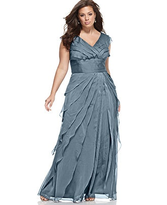 Adrianna Papell Plus Size Dress, Sleeveless Tiered Empire Waist ...