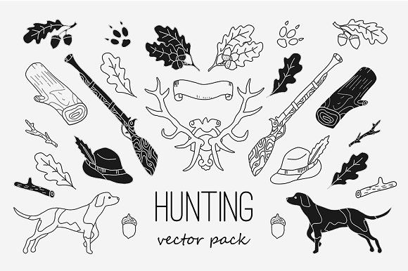 Hunting Pack by WINS Doodle shop on @creativemarket