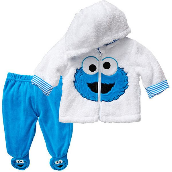 Sesame Beginnings Cookie Monster Print Hooded Set Blue White Target... ($36) ❤ liked on Polyvore featuring baby and baby clothes