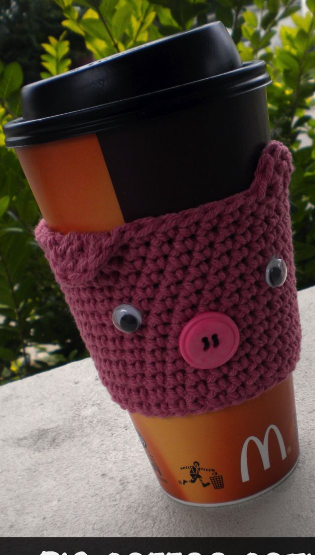 pig coffee cozy patternCoffee Sleeve, Crochet Ideas, Cups Cozy, Crafty, Coffee Cozy Pattern, Crochet Pattern, Crochet Knits, Pigs Coffee, Crafts
