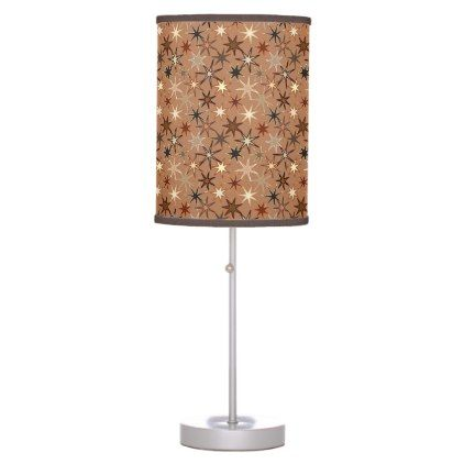 Modern Starburst Print Coffee Brown and Beige Desk Lamp - light gifts template style unique special diy