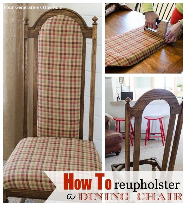 How to reupholster a dining chair in one hour. Quick & easy! @Mandy Bryant Bryant Bryant Dewey Generations One Roof