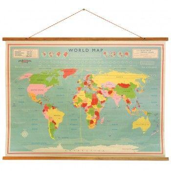 Mapa del mundo vintage pared colegial