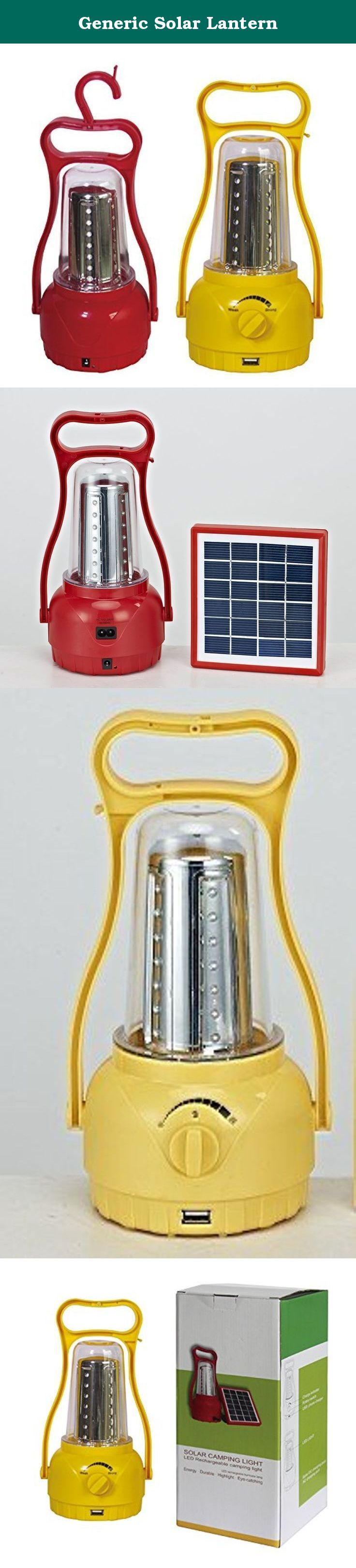 Generic Solar Lantern. 1.Solar panels: 6V/1.5W 2.LED power: 35pcs lamp beads 3.Battery: 4V / 3000MA 4.Material: Plastic ABS / transparent PC 5.AC charging port, cell phone charging 6.free to adjust brightness; can be inverted upside down.
