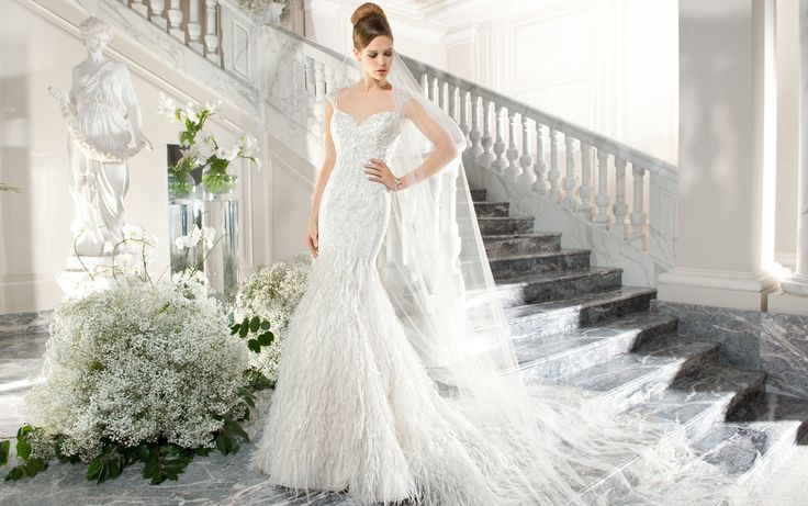 Demetrios Couture 2015 Feather Wedding Gown Style C220 | www.DemetriosBride.com #DemetriosBride