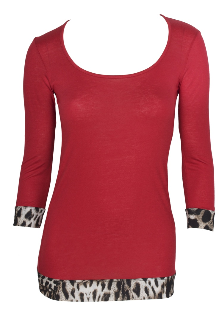 Red top with a leopard touch by Just Cavalli. #GBModa #Fashion #AbuDhabi #JustCavalli