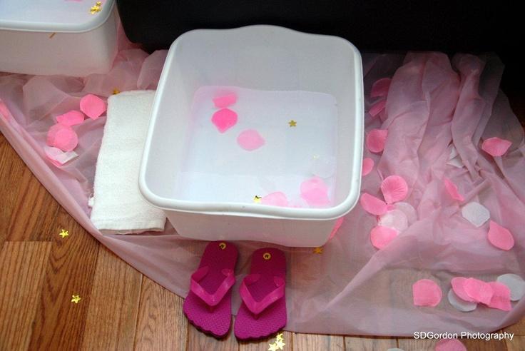 little girls spa party pedicure station setup hosted by Jola's Joyful Events   www.jolasjoyfulevents.com