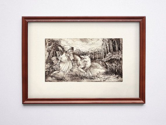 Little red riding hood Original etching print by BarbaraBernat