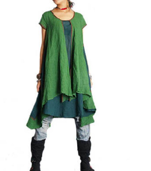 Knielange Kleider - Grünes Kleid der doppelten Schichten - ein Designerstück von buuki bei DaWanda