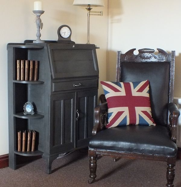 Bureau And Bookcase Painted With Graphite Chalk Paint® And Both Clear And  Dark Annie Sloan