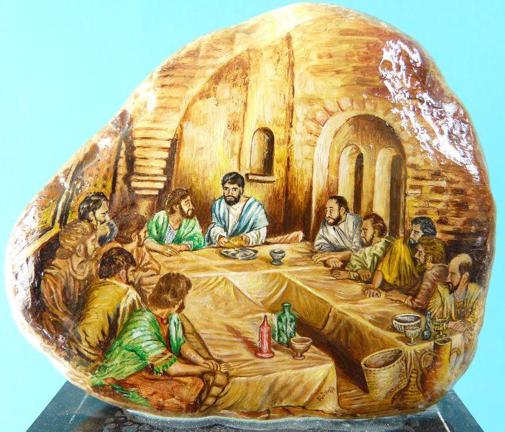 La cena de Jesus. Obra al oleo sobre piedra.