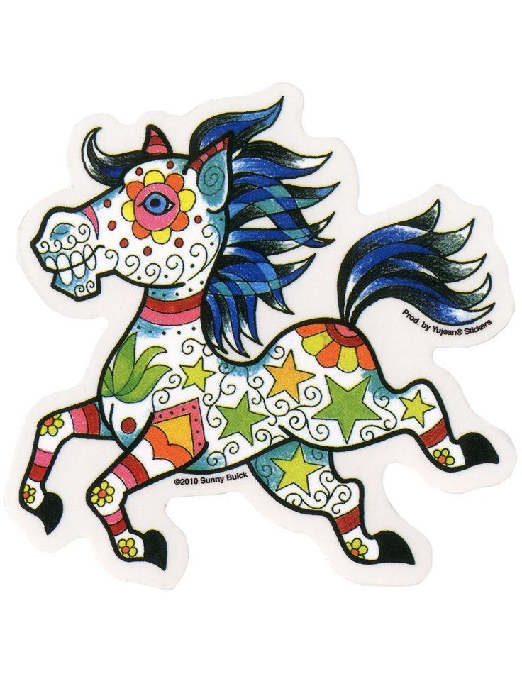 Autocollant Candy Horse Sugar Skull disponible sur www.gindstore.com.